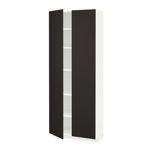 metod hochschrank mit einlegeb den wei kungsbacka anthrazit 80x37x200 cm ikea. Black Bedroom Furniture Sets. Home Design Ideas