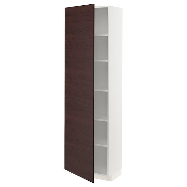 METOD Hochschrank mit Einlegeböden, weiß Askersund/dunkelbraun Eschenachbildung, 60x37x200 cm