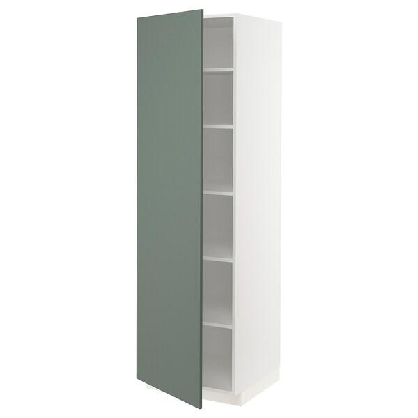METOD Hochschrank mit Einlegeböden, weiß/Bodarp graugrün, 60x60x200 cm