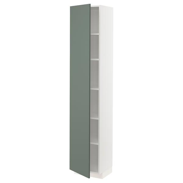 METOD Hochschrank mit Einlegeböden, weiß/Bodarp graugrün, 40x37x200 cm
