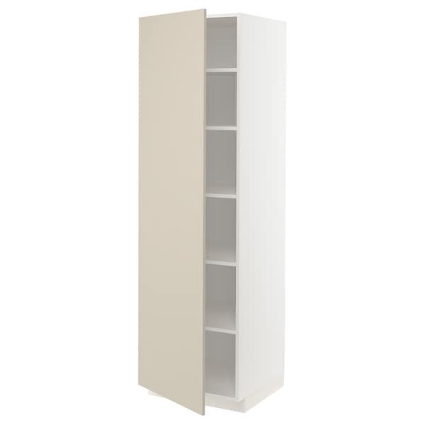 METOD Hochschrank mit Einlegeböden, weiß/Havstorp beige, 60x60x200 cm