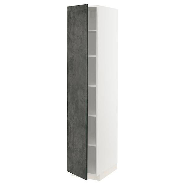 METOD Hochschrank mit Einlegeböden, weiß/Kalhyttan Betonmuster dunkelgrau, 40x60x200 cm
