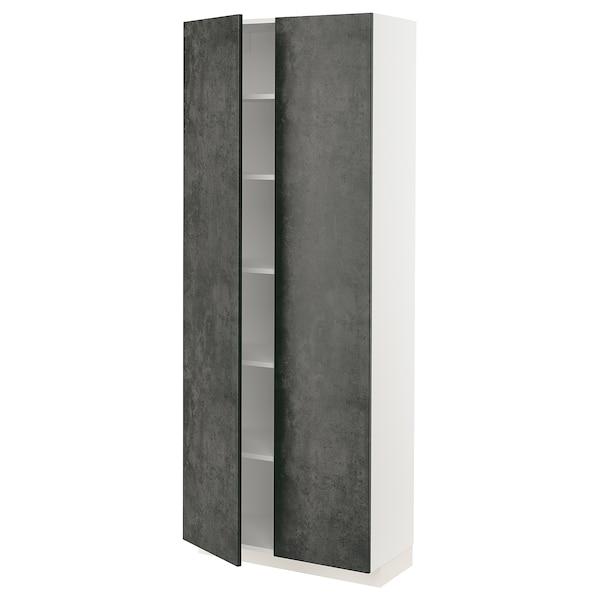 METOD Hochschrank mit Einlegeböden, weiß/Kalhyttan Betonmuster dunkelgrau, 80x37x200 cm