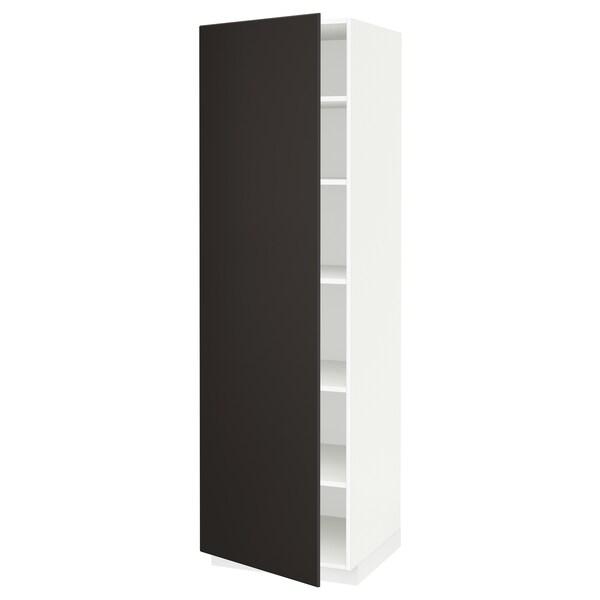 METOD Hochschrank mit Einlegeböden, weiß/Kungsbacka anthrazit, 60x60x200 cm