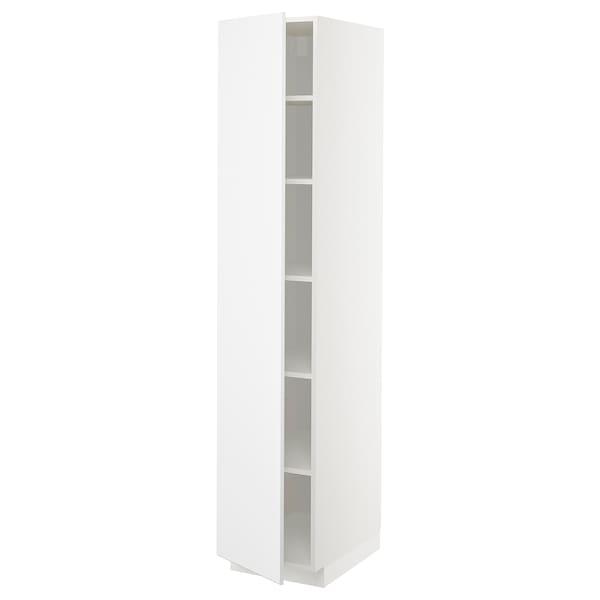 METOD Hochschrank mit Einlegeböden, weiß/Kungsbacka matt weiß, 40x60x200 cm