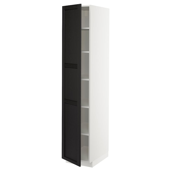 METOD Hochschrank mit Einlegeböden, weiß/Lerhyttan schwarz lasiert, 40x60x200 cm