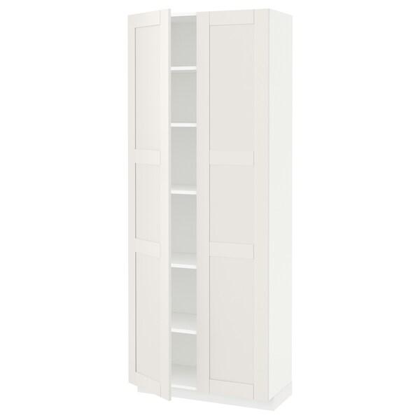 METOD Hochschrank mit Einlegeböden, weiß/Sävedal weiß, 80x37x200 cm