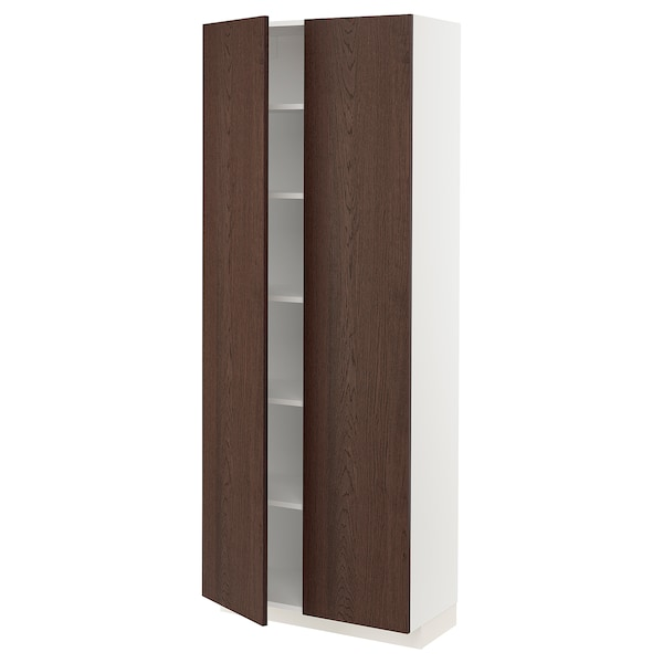 METOD Hochschrank mit Einlegeböden, weiß/Sinarp braun, 80x37x200 cm