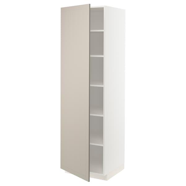 METOD Hochschrank mit Einlegeböden, weiß/Stensund beige, 60x60x200 cm