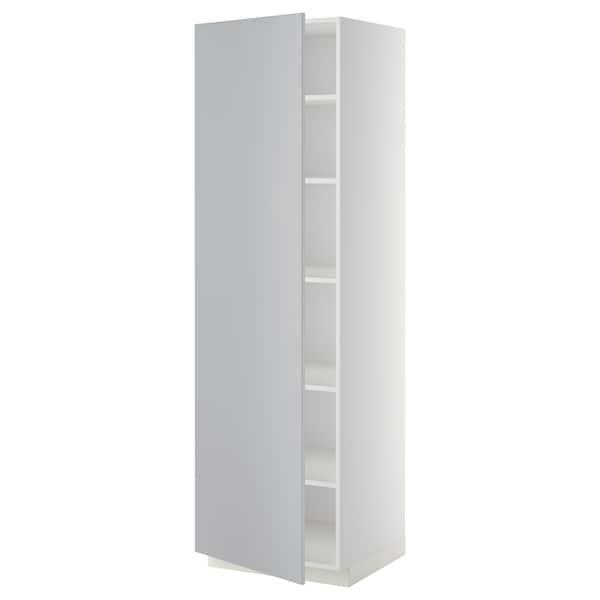 METOD Hochschrank mit Einlegeböden, weiß/Veddinge grau, 60x60x200 cm