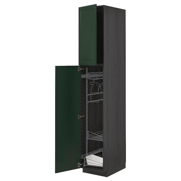 METOD Hochschrank mit Putzschrankeinr., schwarz/Bodbyn dunkelgrün, 40x60x220 cm