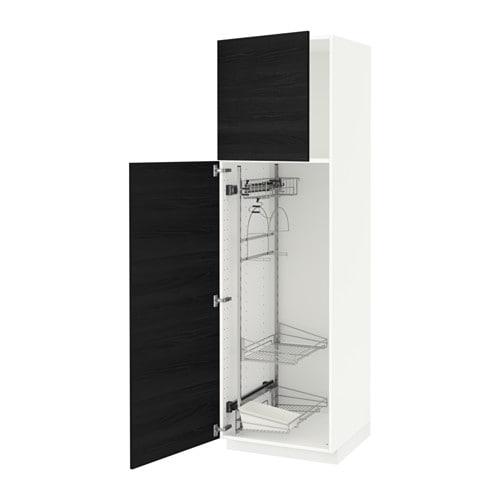 metod hochschrank mit putzschrankeinr wei tingsryd holzeffekt schwarz 60x60x200 cm ikea. Black Bedroom Furniture Sets. Home Design Ideas