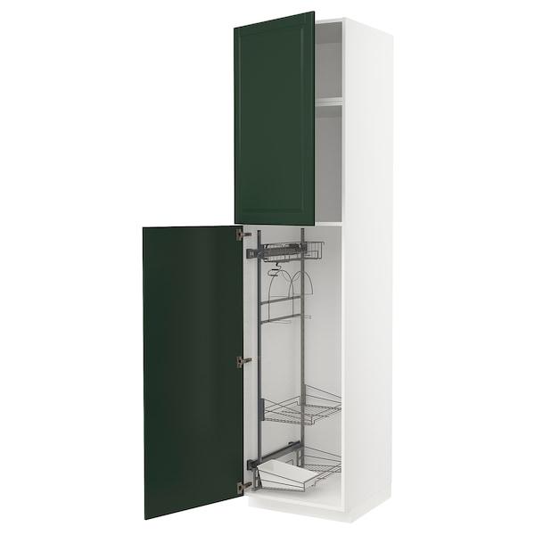 METOD Hochschrank mit Putzschrankeinr., weiß/Bodbyn dunkelgrün, 60x60x240 cm