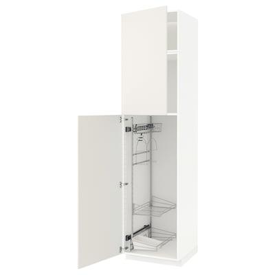 METOD Hochschrank mit Putzschrankeinr., weiß/Veddinge weiß, 60x60x240 cm