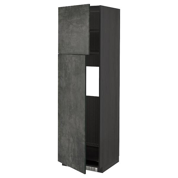 METOD HS f Kühlschr m 2 Türen, schwarz/Kalhyttan Betonmuster dunkelgrau, 60x60x200 cm