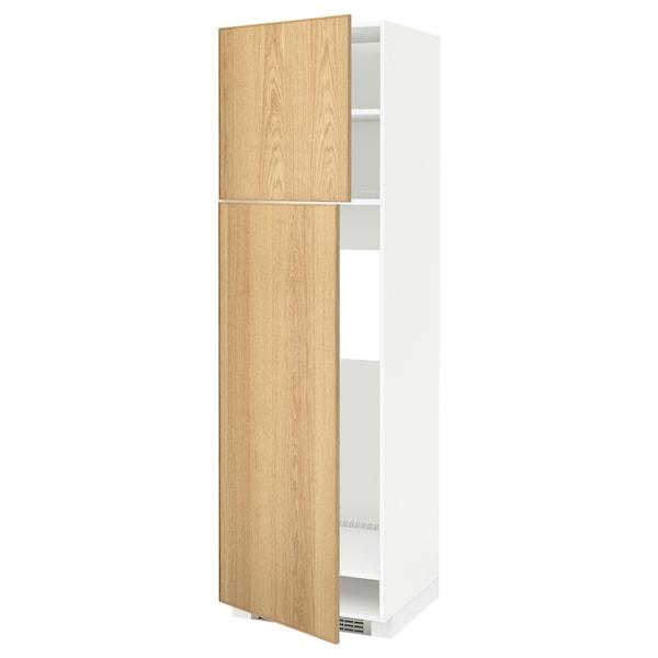 METOD HS f Kühlschr m 2 Türen, weiß/Ekestad Eiche, 60x60x200 cm