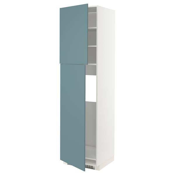 METOD HS f Kühlschr m 2 Türen, weiß/Havstorp türkis, 60x60x220 cm