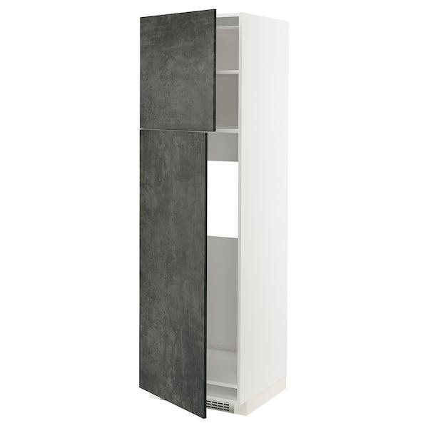 METOD HS f Kühlschr m 2 Türen, weiß/Kalhyttan Betonmuster dunkelgrau, 60x60x200 cm