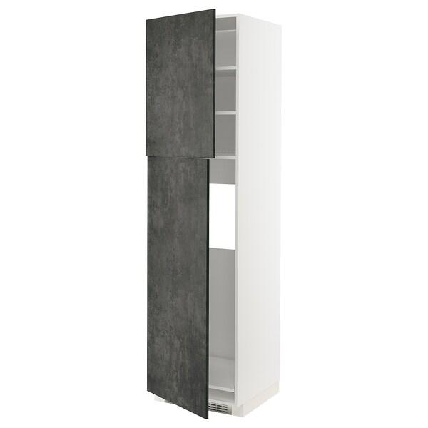 METOD HS f Kühlschr m 2 Türen, weiß/Kalhyttan Betonmuster dunkelgrau, 60x60x220 cm