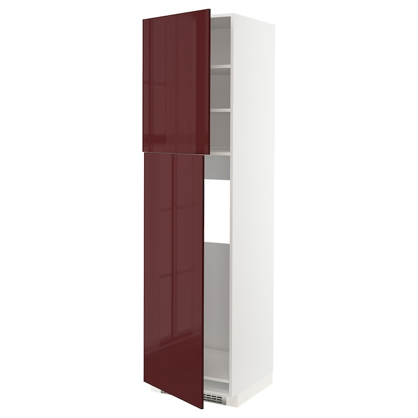 METOD HS f Kühlschr m 2 Türen, weiß Kallarp/Hochglanz dunkel rotbraun, 60x60x220 cm