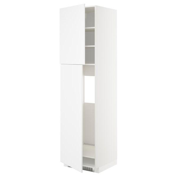 METOD HS f Kühlschr m 2 Türen, weiß/Kungsbacka matt weiß, 60x60x220 cm