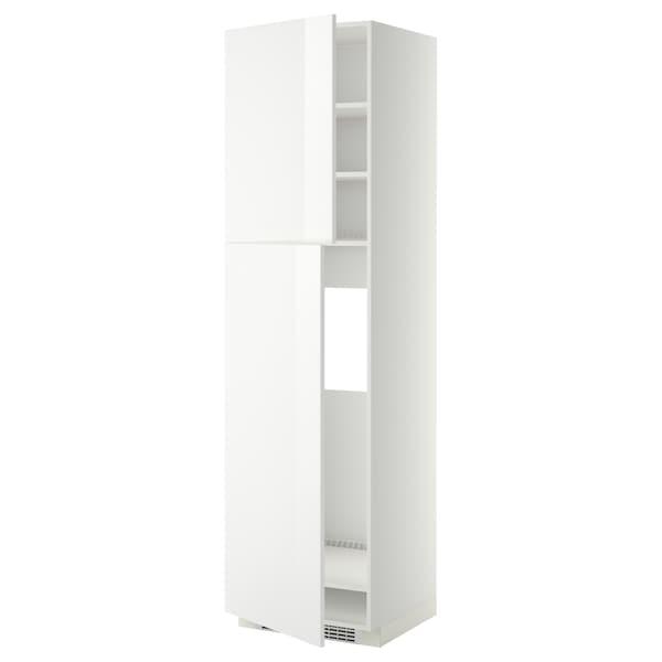 METOD HS f Kühlschr m 2 Türen, weiß/Ringhult weiß, 60x60x220 cm