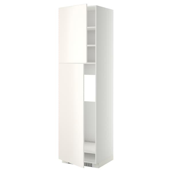 METOD HS f Kühlschr m 2 Türen, weiß/Veddinge weiß, 60x60x220 cm