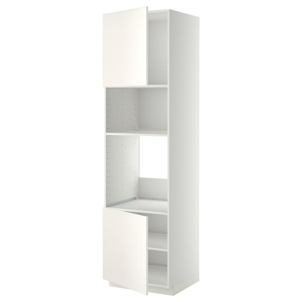 METOD HS f Ofen/Mikro m 2 Türen/Böden, weiß/Veddinge weiß, 60x60x220 cm