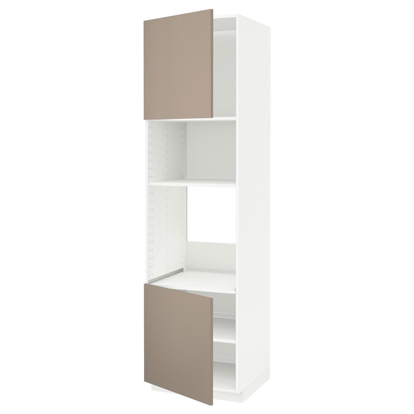 METOD, HS für Ofen/Mikro m 2 Türen/Böden, weiß, dunkelbeige 791.166.58