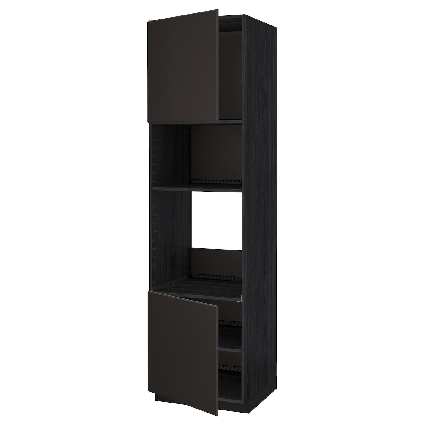 METOD, HS für Ofen/Mikro m 2 Türen/Böden, schwarz 892.123.10