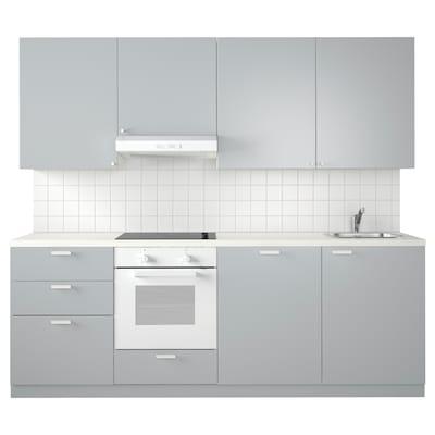METOD Küche, weiß Maximera/Veddinge grau, 240x60x228 cm