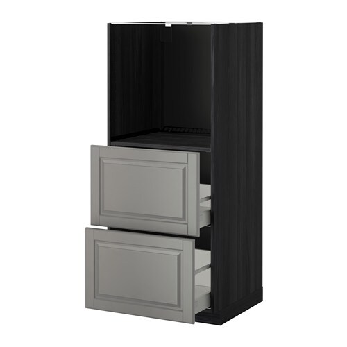 metod maximera hochschrank m 2 schubl f r ofen holzeffekt schwarz bodbyn grau ikea. Black Bedroom Furniture Sets. Home Design Ideas