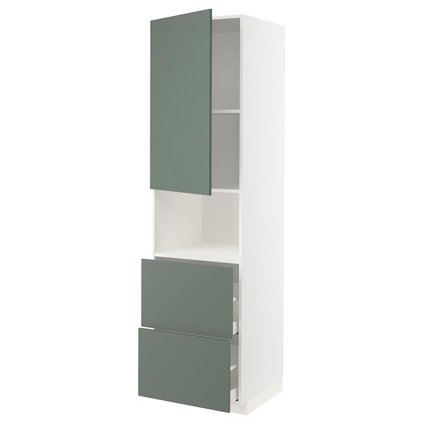 METOD / MAXIMERA HS f Mikro m Tür/2 Sch, weiß/Bodarp graugrün, 60x60x220 cm