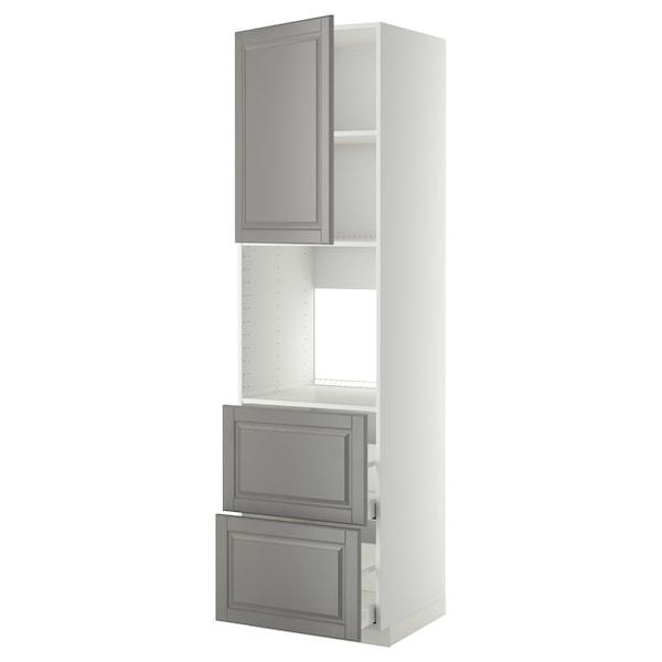 METOD / MAXIMERA HS f Of m Tür/2 Fronten/2 ho Sch, weiß/Bodbyn grau, 60x60x220 cm