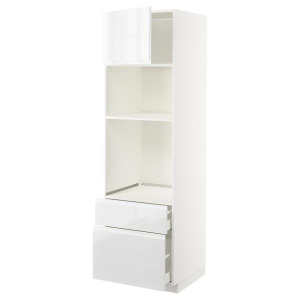 METOD / MAXIMERA HS f Ofen/Mikro m Tür/2 Schubl, weiß/Voxtorp Hochglanz/weiß, 60x60x200 cm