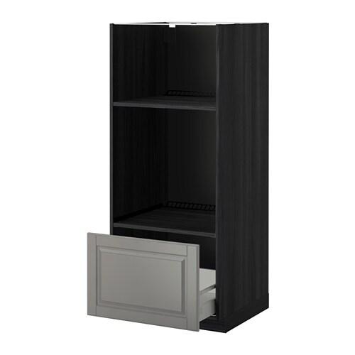 ... HS f Ofen/Mikro mit Schubl - Holzeffekt schwarz, Bodbyn grau - IKEA
