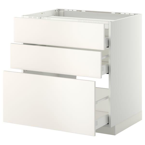METOD / MAXIMERA Unterschr.f Kochf/3 Fronten/3Sch., weiß/Veddinge weiß, 80x60 cm