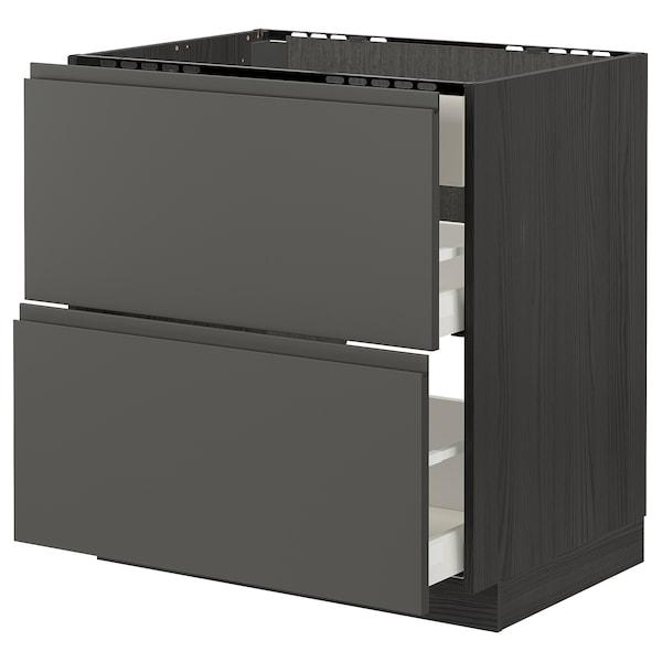 METOD / MAXIMERA Unterschr./Kochf./int.Dunstabz./Sch, schwarz/Voxtorp dunkelgrau, 80x60 cm