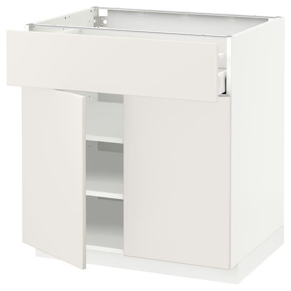 METOD / MAXIMERA Unterschr m Schub/2 Türen, weiß/Veddinge weiß, 80x60 cm