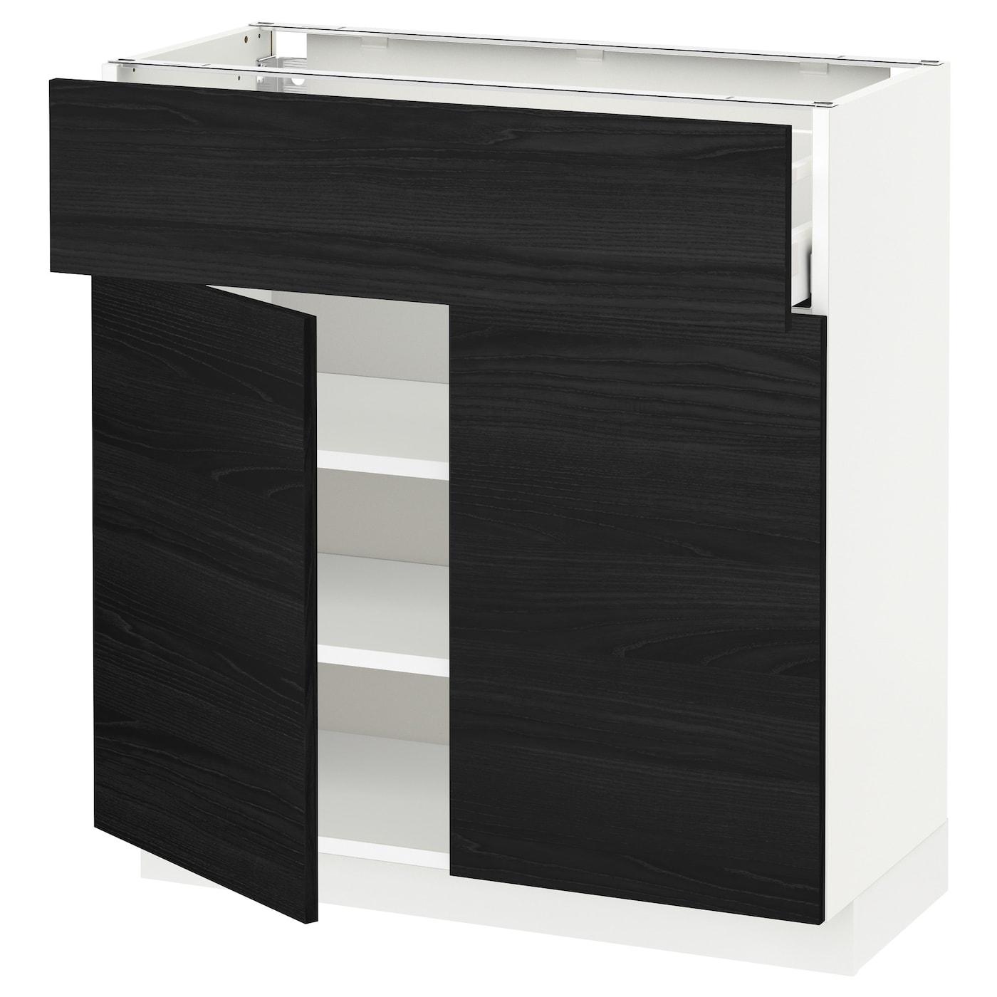 METOD / MAXIMERA, Unterschr m Schub/2 Türen, weiß, schwarz 792.725.02