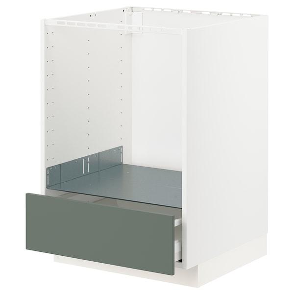 METOD / MAXIMERA Unterschrank für Ofen mit Schubl, weiß/Bodarp graugrün, 60x60 cm