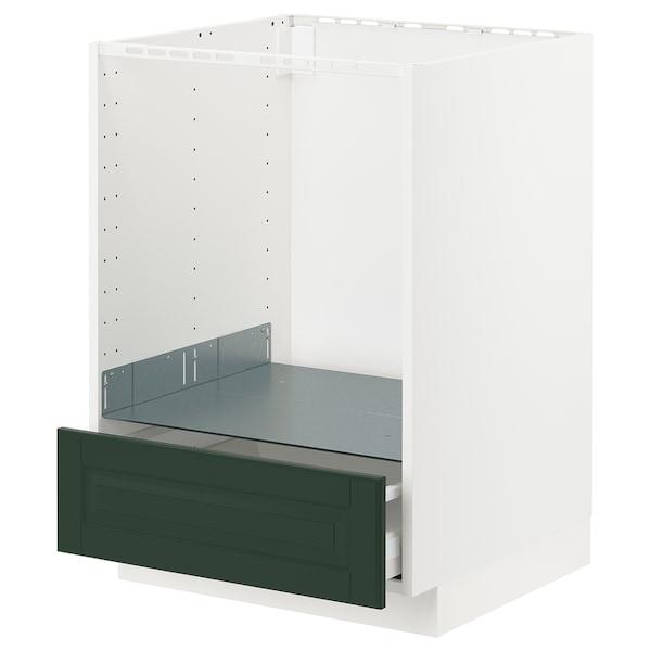 METOD / MAXIMERA Unterschrank für Ofen mit Schubl, weiß/Bodbyn dunkelgrün, 60x60 cm