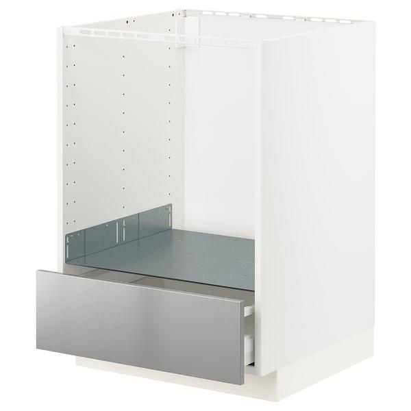 METOD / MAXIMERA Unterschrank für Ofen mit Schubl, weiß/Vårsta Edelstahl, 60x60 cm