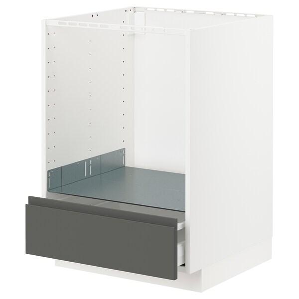 METOD / MAXIMERA Unterschrank für Ofen mit Schubl, weiß/Voxtorp dunkelgrau, 60x60 cm