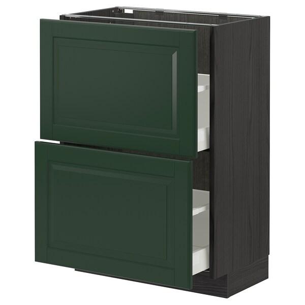 METOD / MAXIMERA Unterschrank mit 2 Schubladen, schwarz/Bodbyn dunkelgrün, 60x37 cm