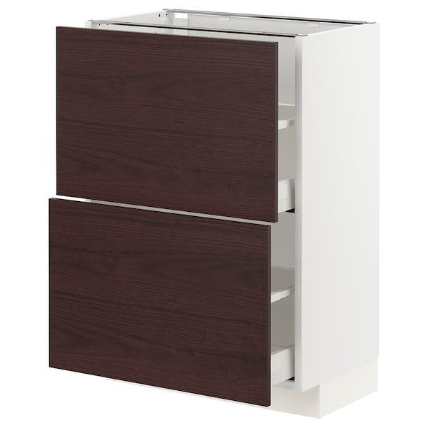 METOD / MAXIMERA Unterschrank mit 2 Schubladen, weiß Askersund/dunkelbraun Eschenachbildung, 60x37 cm