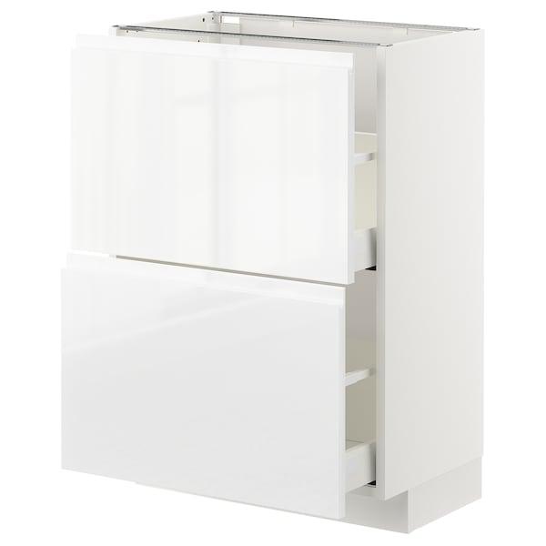 METOD / MAXIMERA Unterschrank mit 2 Schubladen, weiß/Voxtorp Hochglanz/weiß, 60x37 cm