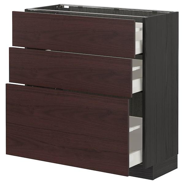 METOD / MAXIMERA Unterschrank mit 3 Schubladen, schwarz Askersund/dunkelbraun Eschenachbildung, 80x37 cm