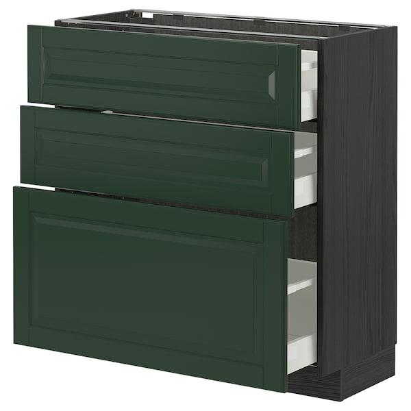 METOD / MAXIMERA Unterschrank mit 3 Schubladen, schwarz/Bodbyn dunkelgrün, 80x37 cm