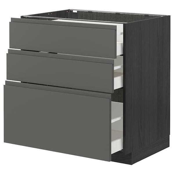 METOD / MAXIMERA Unterschrank mit 3 Schubladen, schwarz/Voxtorp dunkelgrau, 80x60 cm